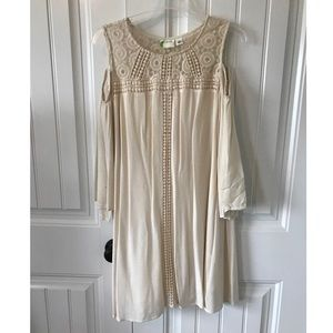 3/4 cream dress with cold shoulder